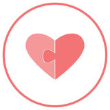 Flat icon for website and greeting cards. Two halves of the heart on a white background. Parts of the puzzle. For Valentine`s day. Stock Photos