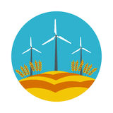 Flat icon windmill Royalty Free Stock Photo
