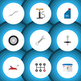 Flat Icon Workshop Set Of Wheel Pump, Muffler, Petrol And Other Vector Objects. Also Includes Petrol, Battery, Car. Flat Icon Workshop Set Of Wheel Pump, Muffler Royalty Free Stock Images