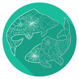 Flat icon of zodiac sign Pisces. Vector flat icon of zodiac sign Pisces Royalty Free Stock Images