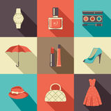 Flat icons with accessories. Royalty Free Stock Photo