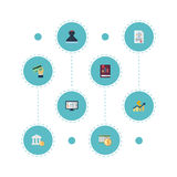 Flat Icons Accounting System, Book, Act And Other Vector Elements. Set Of Accounting Flat Icons Symbols Also Includes Stock Images