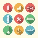 Flat icons for active leisure in the park. Active leisure in the park with some bike, longboard and segway and others. Set of circle colored icons on white Stock Image