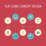 Flat Icons Advertising, Award, Audience And Other Vector Elements. Set Of Marketing Flat Icons Symbols Also Includes Royalty Free Stock Image