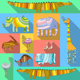 Flat Icons with African Animals Royalty Free Stock Images