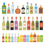 Flat Icons Alcoholic Beverages Stock Image