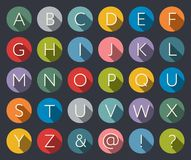 Flat icons alphabet. A-Z Flat Icons Alphabet Letter Set with long shadow Stock Photography