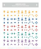 Flat icons - arrows colorful. This pack contains 100 colorful icons uniqe and modern of Directions Arrows that you can use in your designs.nn-100% .nn-Easy to Royalty Free Stock Photography