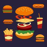 Flat icons of assorted takeaway food Stock Photography