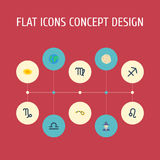 Flat Icons Augur, Virgin, Horoscope And Other Vector Elements. Set Of Astrology Flat Icons Symbols Also Includes Human Royalty Free Stock Photo