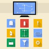 Flat icons for auto repair. Square colored icons and diagnostic monitor for auto repair Royalty Free Stock Images