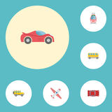 Flat Icons Automotive, Jeep, Luxury Auto And Other Vector Elements. Set Of Auto Flat Icons Symbols Also Includes royalty free illustration