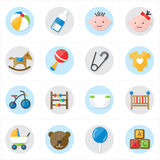 Flat Icons For Baby Icons and Toys Icons Vector Illustration Stock Photography