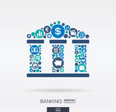 Flat icons in a bank building shape, banking, money, card, business and  finance concept Stock Image