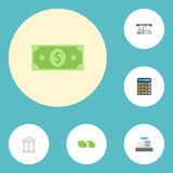 Flat Icons Bank, Cash Stack, Accounting And Other Vector Elements. Set Of Finance Flat Icons Symbols Also Includes Bank. Flat Icons Bank, Cash Stack, Accounting Stock Photos