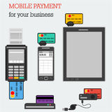 Flat icons banking equipment with credit cards Stock Photo