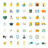 Flat icons big set travel marketing hipster. Science education business money shopping objects health delivery vector illustration Stock Image