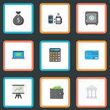 Flat Icons Billfold, Accounting, Remote Paying And Other Vector Elements. Set Of Banking Flat Icons Symbols Also. Flat Icons Billfold, Accounting, Remote Paying Stock Photo