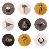 Flat icons blacksmith. Best flat icons blacksmith in  format eps10 Royalty Free Stock Photography