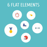 Flat Icons Blower, Rugby, Second Meter And Other Vector Elements. Set Of Fitness Flat Icons Symbols Also Includes Reward Stock Photography