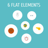 Flat Icons Blower, Volleyball, Basket And Other Vector Elements. Set Of Sport Flat Icons Symbols Also Includes Karate Stock Images