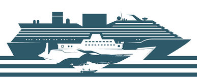 Flat icons of boats ranked by size. Royalty Free Stock Image