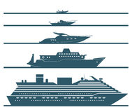Flat icons of boats ranked by size. Stock Image