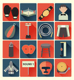 Flat icons boxing set Royalty Free Stock Images