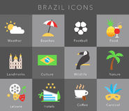 Flat icons Brazil, vector set Royalty Free Stock Photos