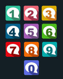 Flat icons bubble conversation numbers with long s Royalty Free Stock Images