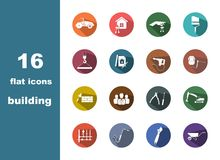 16 flat icons building Royalty Free Stock Images