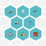 Flat Icons Bulb, Hoisting Machine, Steamroller And Other Vector Elements. Set Of Construction Flat Icons Symbols Also Stock Photo
