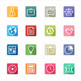 Flat icons business finance and white background. This image is a vector illustration Royalty Free Stock Image