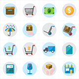 Flat Icons For Business Icons and Ecommerce Icons Vector Illustration Royalty Free Stock Images