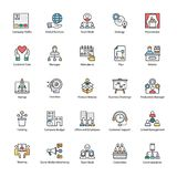 Flat Icons of Business Management. A colored flat icons set of business management with all related icons. A wide range including financial aspects, market Royalty Free Stock Images