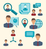 Flat icons of business people showing presentation online meetin Royalty Free Stock Image