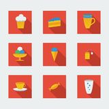 Flat icons for cafe Stock Photos
