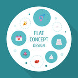Flat Icons Calendar, Chariot, Patisserie And Other Vector Elements. Set Of Ceremony Flat Icons Symbols Also Includes Stock Photography