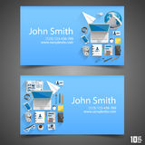 Flat icons on cards Royalty Free Stock Photos