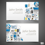 Flat icons on cards Royalty Free Stock Photo