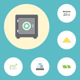 Flat Icons Cash Stack, Strongbox, Bar Diagram And Other Vector Elements.. Flat Icons Cash Stack, Strongbox, Bar Diagram And Other Vector Elements Royalty Free Stock Photos