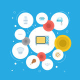 Flat Icons Casserole, Chef Hat, Pepperoni And Other Vector Elements.   Royalty Free Stock Photos