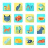 Flat icons cat set slant shadow Stock Images