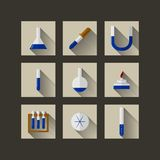 Flat icons for chemistry Royalty Free Stock Images