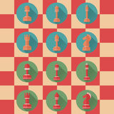 Flat Icons of Chess Figures Stock Image