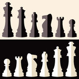 Flat icons of chess pieces, vector. Set of flat icons of chess pieces, vector Royalty Free Stock Photos