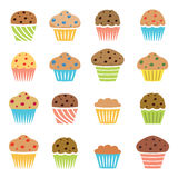 Flat icons of chocolate and fruit muffins, homemade cakes, vector  Stock Photography