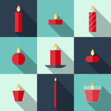 Flat icons Christmas candles Royalty Free Stock Photo