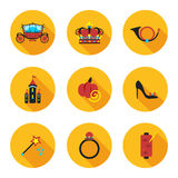 Flat icons Cinderella Stock Photography