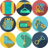 Flat icons for climbing equipment Stock Photos